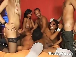 3 sexy shemales love having group sex