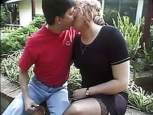 Blonde shemale MILF seduces teen gay outdoor