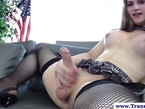 Tiffany Starr tugging her tranny cock