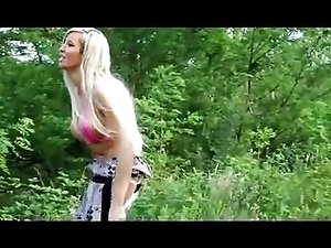 Blonde shemale sucking cock outdoors